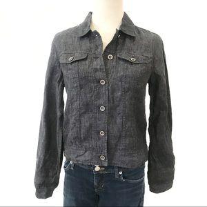 Eileen Fisher Denim Jacket Organic Linen Delave